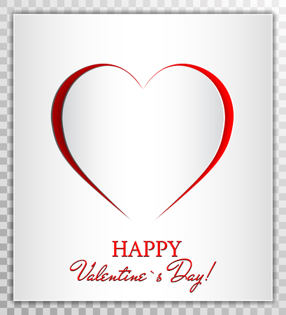 Love Heart from paper cut style, Valentines day card vector illustration on transparent background.  Greeting card, poster, banner collection.