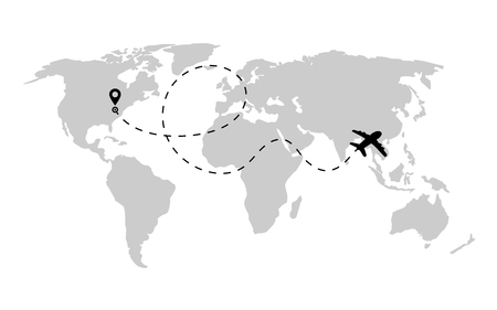 Airplane path in dashed line shape on world map. Route of plane with world map isolated on white background. Vector.
