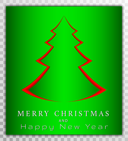 Chreestmas tree from paper cut style, xmas day card vector illustration on transparent background.  Greeting card, poster, banner collection.