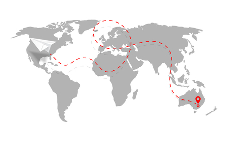 Airplane path in dashed line shape on world map. Route of paper plane with world map isolated on white background. Vector.