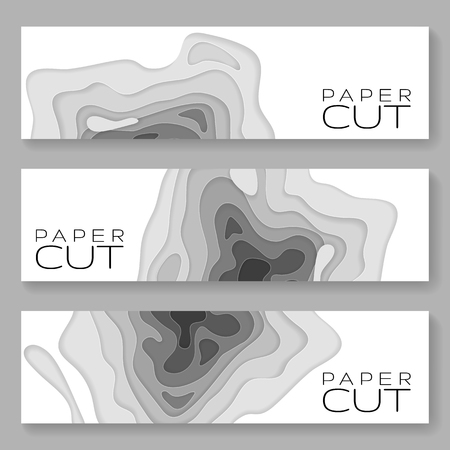 Horizontal banners with 3D abstract Paper background waves, holes. Paper carve background. Modern origami design template for banner, invitation, poster or web site design. Vector illustration.