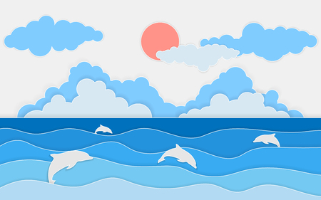 Illustration of sea view with dolphin and clouds. Paper cut and craft style. Summer background with paper waves and seacoast for banner, invitation, poster or web site designVector, illustration. Illustration