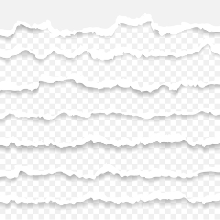 Set of torn paper stripes. Paper texture with damaged edge isolated on transparent background. Vector illustration. Illustration