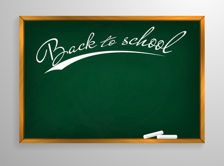 Back to schooll Blackboard background and wooden frame, rubbed out dirty chalkboard, vector illustration.