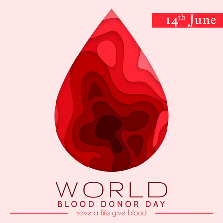World blood donor day card June 14. Awareness vector banner with red paper cut blood heart. Hemophilia day paper craft poster.
