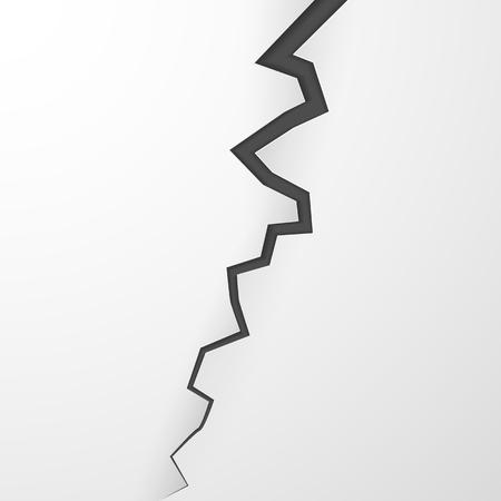 Grieta en la superficie. Grieta en la tierra. Fractura realista en pared. Ilustración vectorial Ilustración de vector