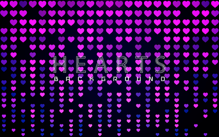 Valentines day background with glossy pink and purple hearts on dark. Vector illustration. Illustration