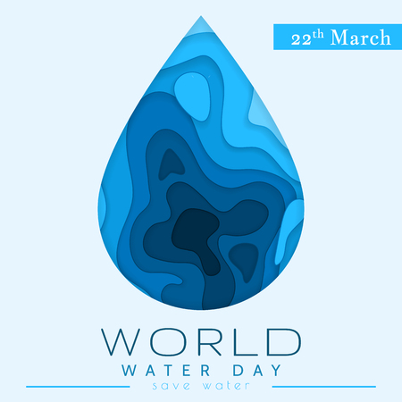 World Water Day in paper cut stile. Abstract waterdrop concept. Save the water. Ecology. Water drop. Vector illustration. Ilustrace