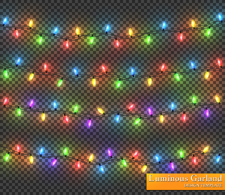 Color garland, festive decorations. Glowing christmas lights isolated on transparent background.