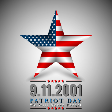 Patriot Day of USA with star in national flag colors american flag. Illustration