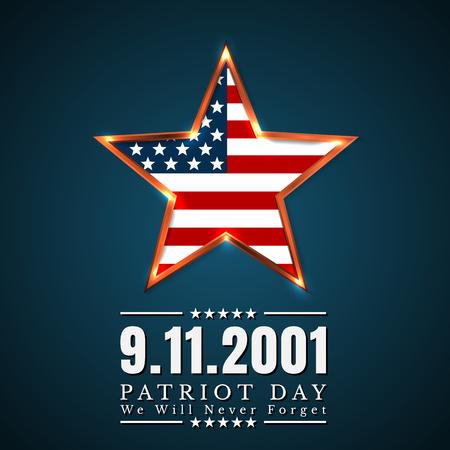 Patriot Day of Usa avec étoile dans les couleurs du drapeau national drapeau américain.