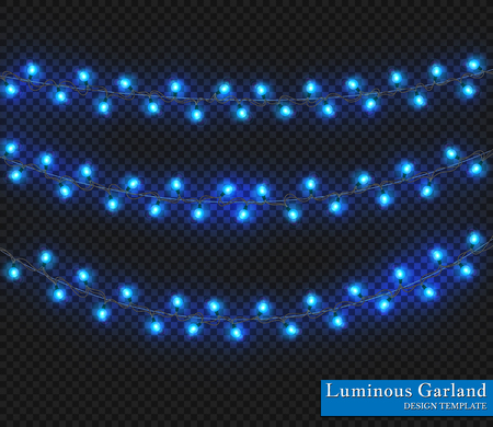 Blue Color garland, festive decorations. Glowing christmas lights isolated on transparent background. Illustration