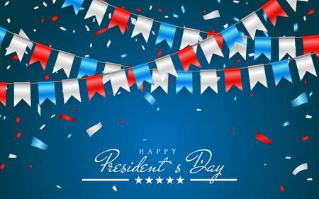 Illustration Patriotischer Hintergrund mit Bunting Flags für Happy Presidents Day und Folienkonfetti., Farben der USA. Vektor-Illustration.