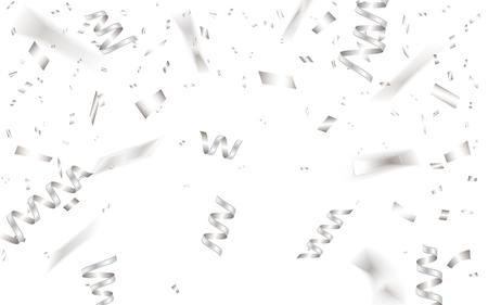 Celebration background template with silver confetti. Vector illustration.