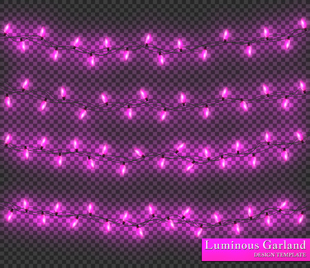 Pink Color garland, festive decorations. Glowing christmas lights isolated on transparent background. Illustration