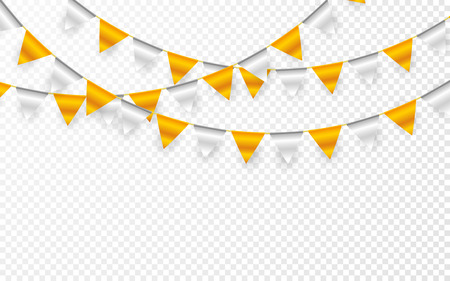 Celebration party banner. Golden and silver foil confetti and flag garland. Vector illustration.