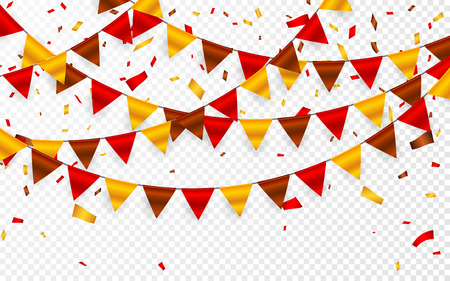 Thanksgiving Day, flags garland on transparent background. Garlands of red brown yellow flags and foil confetti. Vector illustration.