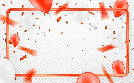 Happy birthday vector Celebration party banner Red foil confetti and white and glitter red balloons. Illustration