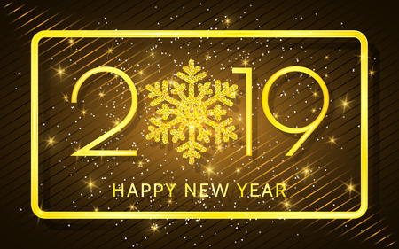 Happy New Year 2019. Golden numbers and confetti on a dark background. Vector illustration.