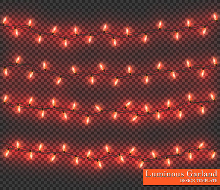 Red Color garland, festive decorations. Glowing christmas lights isolated on transparent background.