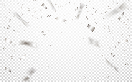 Celebration background template with silver confetti. Vector illustration.