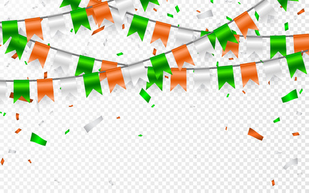 Flags Garland to St. Patricks Day. Party background with flags garland. Garlands of orange white green flags and foil confetti. Vector illustration.