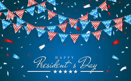 Illustration Patriotic Background with Bunting Flags for Happy Presidents Day and foil confetti, Colors of USA. Vector illustration.