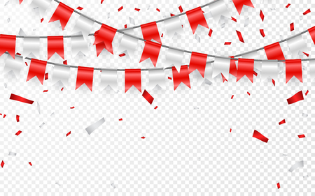 Celebration party banner. Red and silver foil confetti and flag garland. Vector illustration.