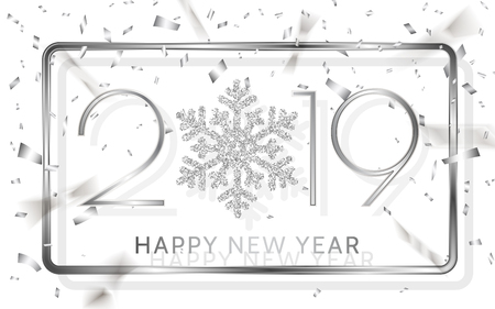 Happy New Year 2019. Silver numbers with ribbons and confetti on a white background. Vector illustration.