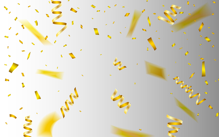 Celebration background template with confetti and gold ribbons. Vector illustration. Illustration