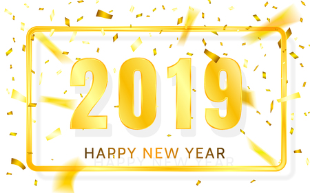 Happy New Year 2019. Golden numbers with ribbons and confetti on a white background. Vector illustration. Illustration