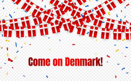 Drapeau de guirlande du Danemark avec des confettis sur fond transparent, accrocher des banderoles pour la bannière de modèle de célébration, illustration vectorielle. Vecteurs