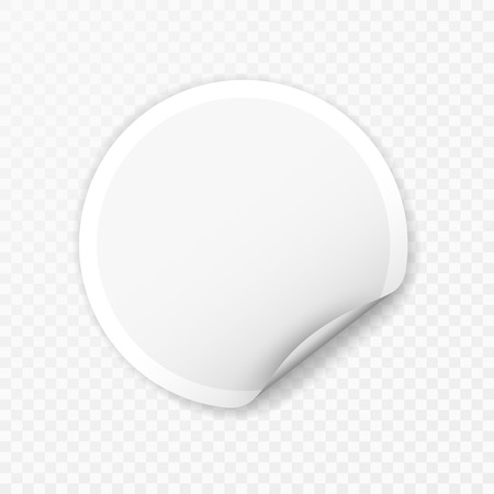 Blank round sticker with curled corners on transparent background, realistic mockup.
