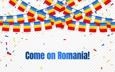 Romania garland flag with confetti on transparent background, Hang bunting for celebration template banner, Vector illustration. Stock Illustratie