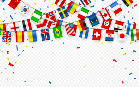 Kleurrijke vlaggenslinger van verschillende landen van Europa en de wereld met confetti. Feestelijke slingers van de internationale wimpel. Bunting kransen. Vectorbanner voor feest, conferentie.