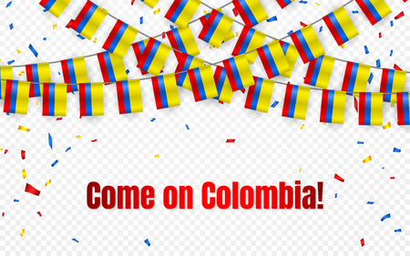 Colombia garland flag with confetti on transparent background, Hang bunting for celebration template banner, Vector illustration.