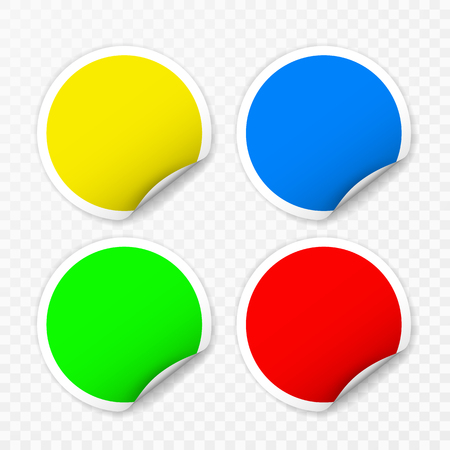 Blank round stickers with curled corners on transparent background, realistic mockup. 向量圖像