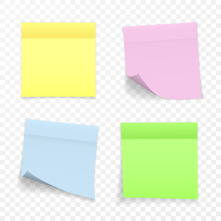 Sticky Paper Note with Shadow Effect. Blank Color Memo Note Stickers for Posting Isolated on Transparent Background. Vector Illustration.
