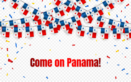 Panama garland flag with confetti on transparent background, Hang bunting for celebration template banner, Vector illustration. 向量圖像