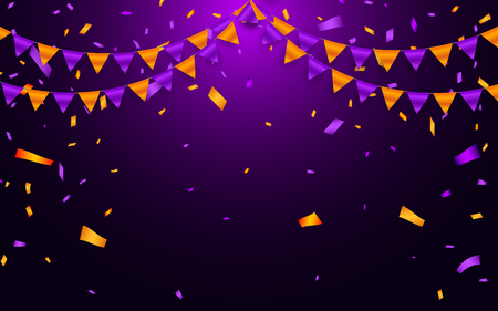 Garland flag and confetti in party and enjoyment concept. Celebration background template. Vector illustration.