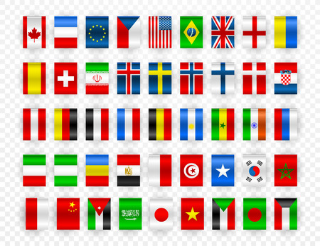 Set of Flags of world sovereign states. Colorful flags of different countries of the europe and world. Vector illustration.