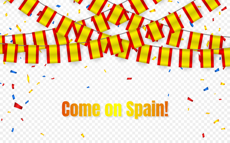 Spain garland flag with confetti on transparent background, Hang bunting for celebration template banner, Vector illustration. Illustration