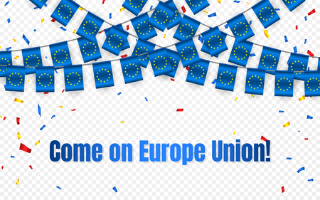 Europe Union garland flag with confetti on transparent background, Hang bunting for celebration template banner, Vector illustration. 일러스트