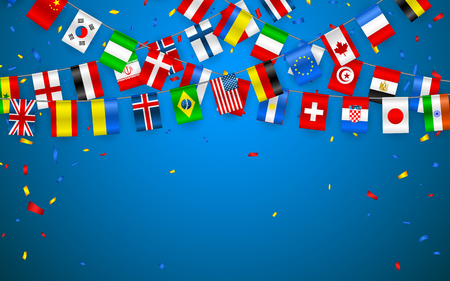 Colorful flags garland of different countries of the europe and world with confetti. Festive garlands of the international pennant. Bunting wreaths. Vector banner for celebration party, conference. Zdjęcie Seryjne - 110271669