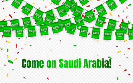 Saudi Arabia garland flag with confetti on transparent background, Hang bunting for celebration template banner, Vector illustration.