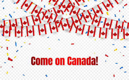 Canada garland flag with confetti on transparent background, Hang bunting for celebration template banner, Vector illustration.