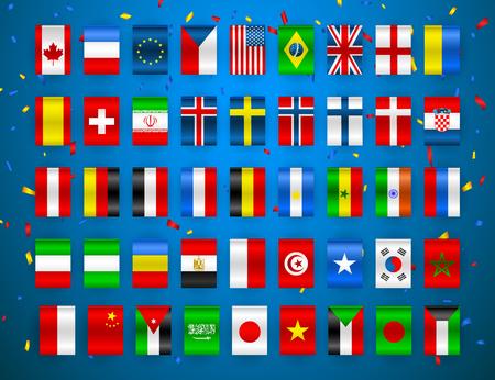 Conjunto de banderas de estados soberanos del mundo. Banderas coloridas de diferentes países de Europa y del mundo. Ilustración vectorial Ilustración de vector