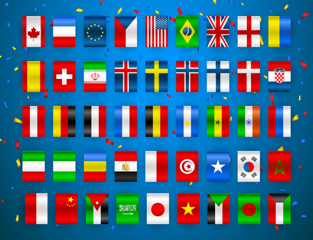 Set of Flags of world sovereign states. Colorful flags of different countries of the europe and world. Vector illustration. 向量圖像