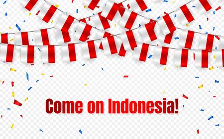 Bandera de guirnalda de Indonesia con confeti sobre fondo transparente, colgar banderines para banner de plantilla de celebración, ilustración vectorial.