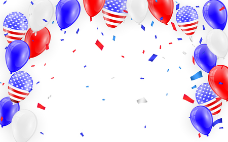 Holidays card design. American flag balloons with confetti background. Vector illustration.